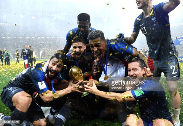France players celebrate winning the World Cup following the 2018 FIFA World Cup Final between France and Croatia at Luzhniki Stadium on July 15 2018...