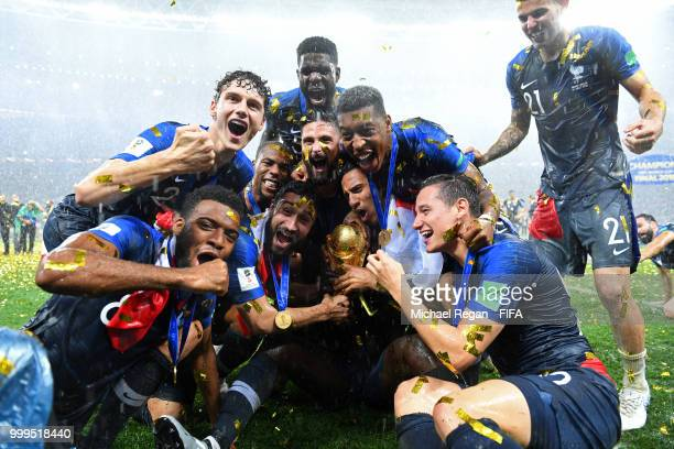 France players celebrate winning the World Cup following the 2018 FIFA World Cup Final between France and Croatia at Luzhniki Stadium on July 15,...