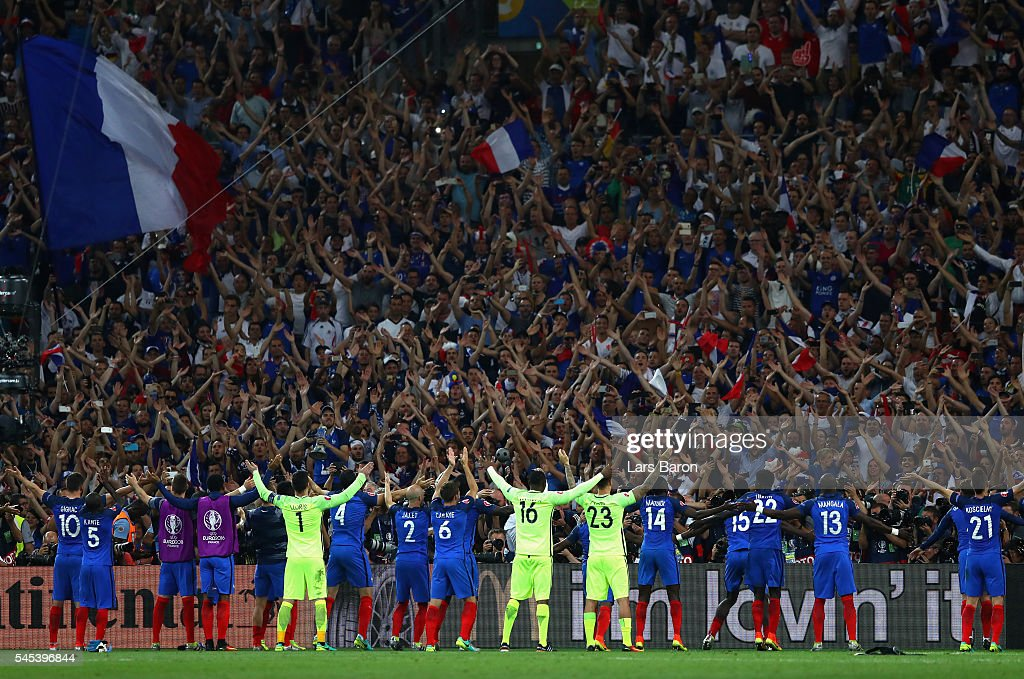 France players celebrate with the fans during the UEFA EURO semi final match between Germany and France at Stade Velodrome on July 7, 2016 in Marseille, France.