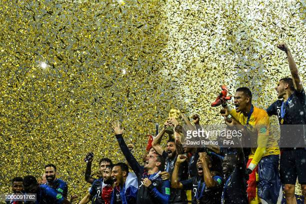 France players celebrate with the World Cup Trophy following their side victory in the 2018 FIFA World Cup Russia Final between France and Croatia at...
