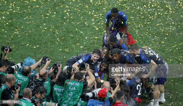 France players celebrate with the World Cup Trophy following their sides victory in during the 2018 FIFA World Cup Final between France and Croatia...