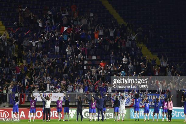 France players celebrate with their fans during the UEFA Women's Euro 2017 Group C match between Switzerland and France at Rat Verlegh Stadion on...