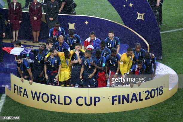 France players celebrate with their World Cup Winner's medals following the 2018 FIFA World Cup Final between France and Croatia at Luzhniki Stadium...