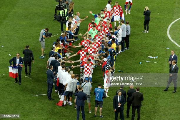 France players congratulate the Croatia players and give them a guard of honour as they go to recieve their runnersup medals during the 2018 FIFA...