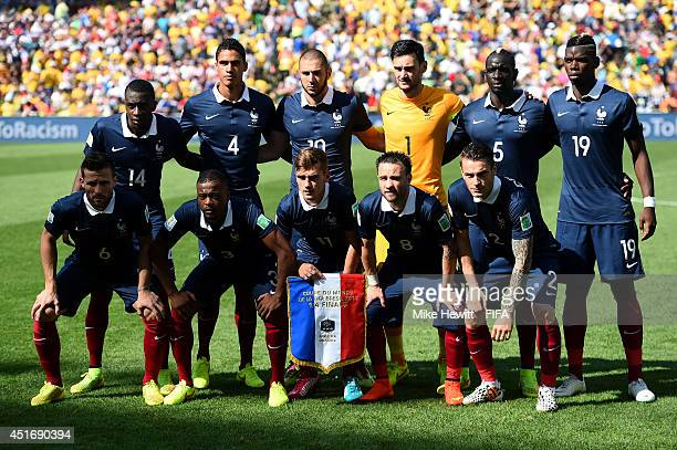 France players line up for the team photos prior to the 2014 FIFA World Cup Brazil Quarter Final match between France and Germany at Maracana on July...