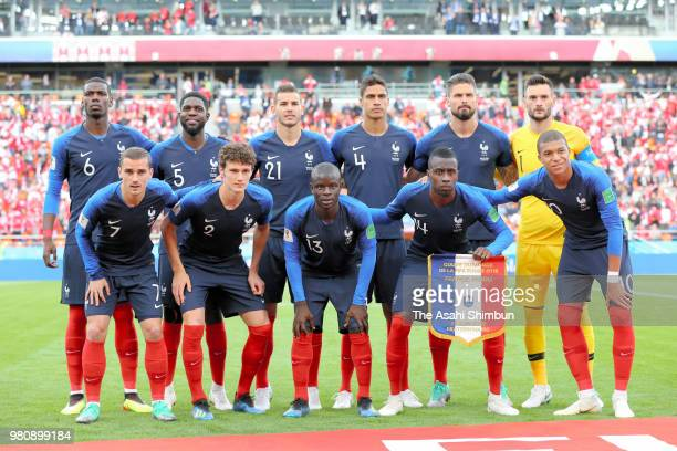 France players line up for the team photos prior to the 2018 FIFA World Cup Russia Group C match between France and Peru at Ekateringburg Arena on...