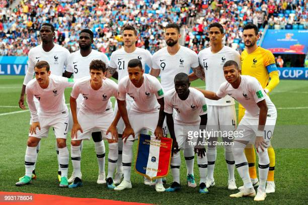 France players line up for the team photos prior to the 2018 FIFA World Cup Russia Quarter Final match between Uruguay and France at Nizhny Novgorod...