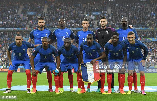 France players line up for the team photos prior to the UEFA EURO 2016 quarter final match between France and Iceland at Stade de France on July 3...