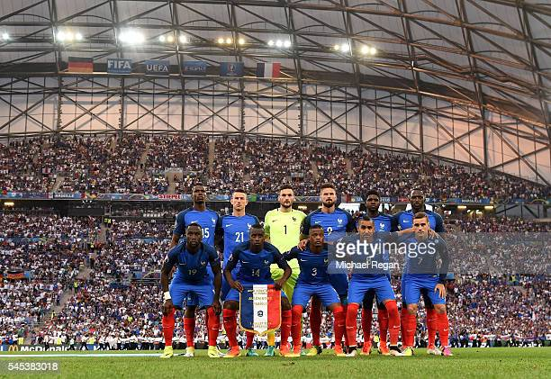 France players line up for the team photos prior to the UEFA EURO semi final match between Germany and France at Stade Velodrome on July 7 2016 in...