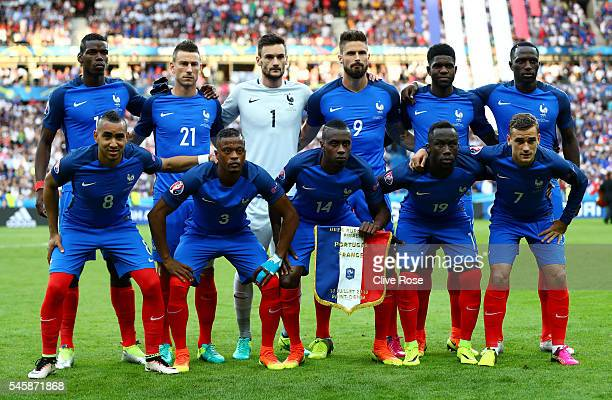France players line up for the team photos prior to the UEFA EURO 2016 Final match between Portugal and France at Stade de France on July 10 2016 in...