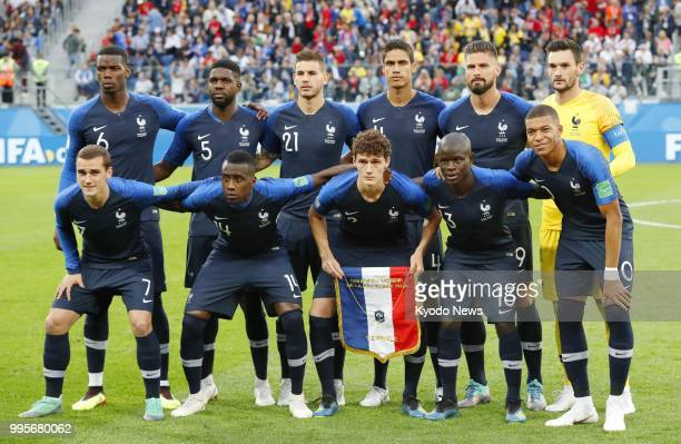 France players pose ahead of a World Cup semifinal against Belgium at Saint Petersburg Stadium in Russia on July 10 2018 France defeated Belgium 10...