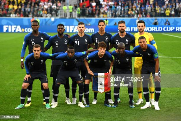 France players pose for a team photo during the 2018 FIFA World Cup Russia Semi Final match between Belgium and France at Saint Petersburg Stadium on...
