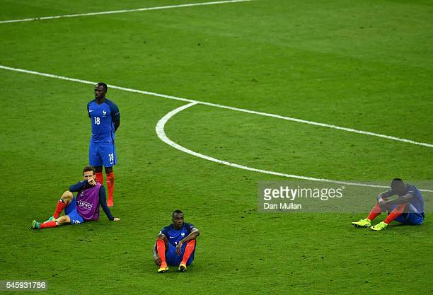 France players show their dejection after their 01 defeat in the UEFA EURO 2016 Final match between Portugal and France at Stade de France on July 10...