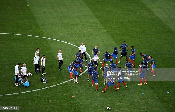 France players take part in the warmup before the UEFA EURO semi final match between Germany and France at Stade Velodrome on July 7 2016 in...