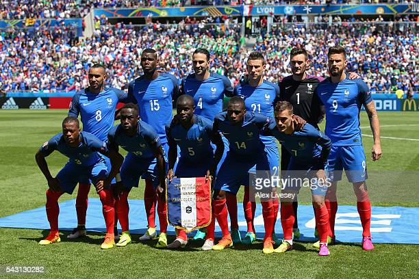 France playes line up for the team photos prior to the UEFA EURO 2016 round of 16 match between France and Republic of Ireland at Stade des Lumieres...