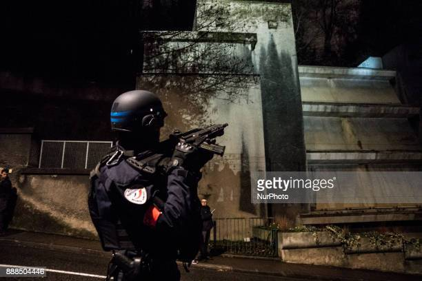 France police controls the traditional procession for the Virgin Mary of the primatiale Saint Jean at the Basilica of Fourviere in Lyon France on...
