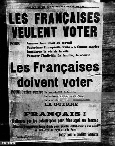 France Popular Front Election poster in favor of women April 30