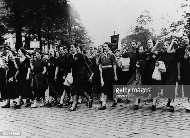 France Popular Front Women demonstrating at the'Mur des fédérés' in Paris May 1936