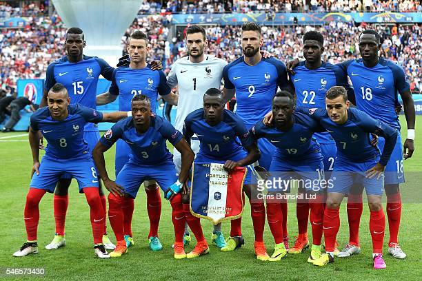 France pose for a team photograph ahead of the UEFA Euro 2016 Final match between Portugal and France at Stade de France on July 10 2016 in Paris...