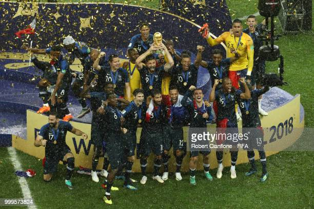 France pose with the trophy as they celebrate victory following the 2018 FIFA World Cup Final between France and Croatia at Luzhniki Stadium on July...