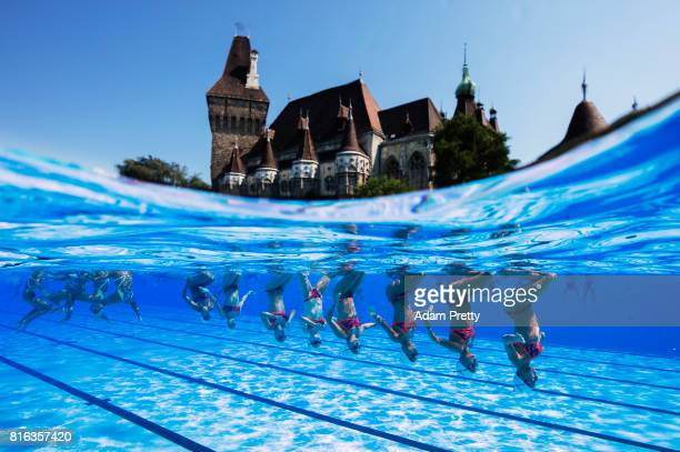 France practice in front of the Vajdahunyad Castle ahead of the Synchronised Swimming Team Technical preliminary round on day three of the Budapest...