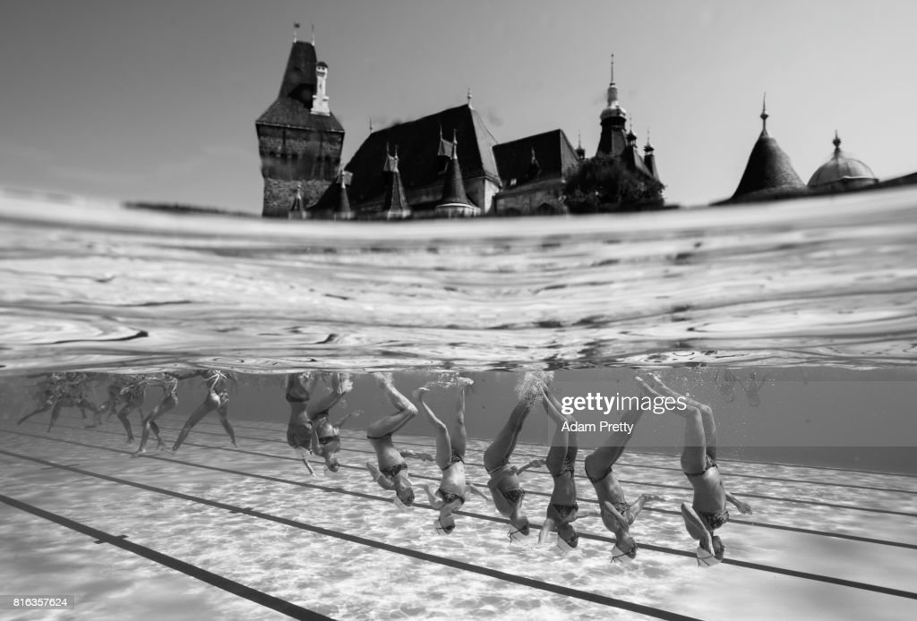 France practice in front of the Vajdahunyad Castle ahead of the Synchronised Swimming Team Technical, preliminary round on day three of the Budapest 2017 FINA World Championships on July 16, 2