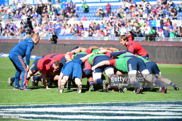France practise scrums under the eye of France forwards coach Yannick Bru before the RBS Six Nations match between Italy and France at Olimpico...