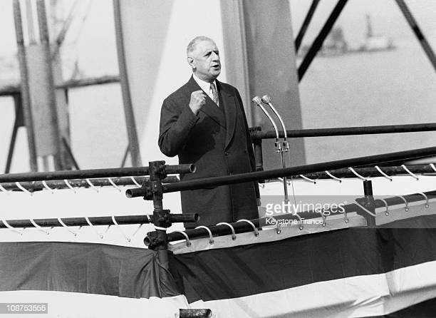 France President Charles De Gaulle Speech For The Launching Of The Liner France In 1962
