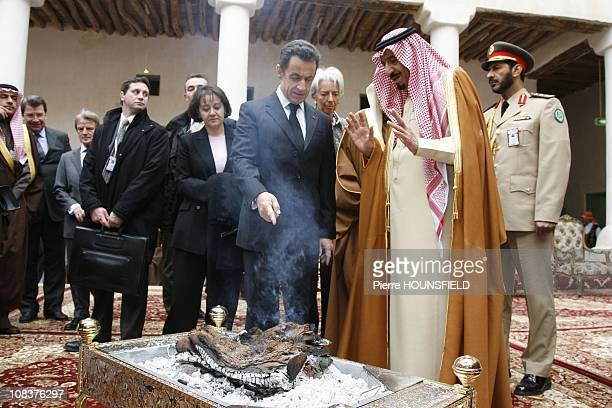 France President Nicolas Sarkozy speaks with Riyadh Governor Prince Salman Bin Abdul Aziz during a visit to the palace of King Abdul Aziz founder of...