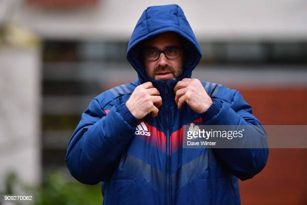 France press attache Lionel Rossigneux during the first training session of the French rugby team under their new coach ahead of the Six Nations at...