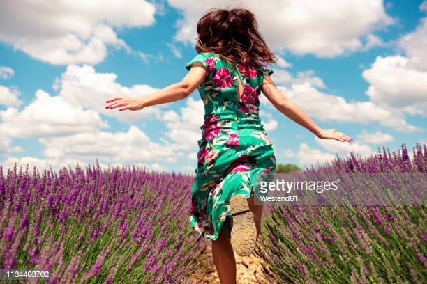 france, provence, valensole plateau, back view of woman running among lavender fields in summer - robe à motif floral photos et images de collection