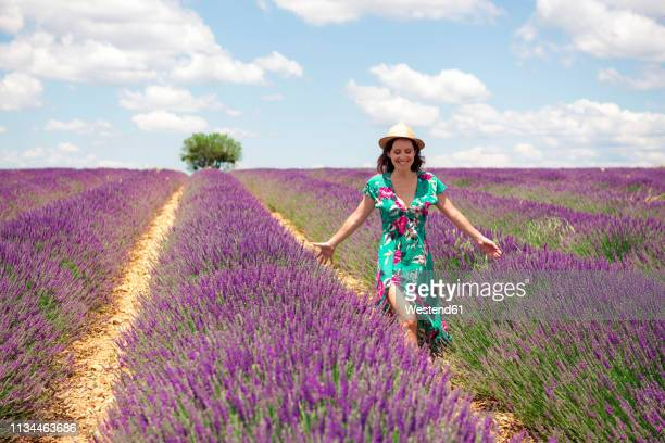france, provence, valensole plateau, smiling woman walking among lavender fields in summer - floral pattern dress photos et images de collection