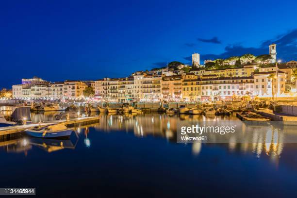 France, Provence-Alpes-Cote d'Azur, Cannes, Le Suquet, Old town, Fishing harbour in the evening