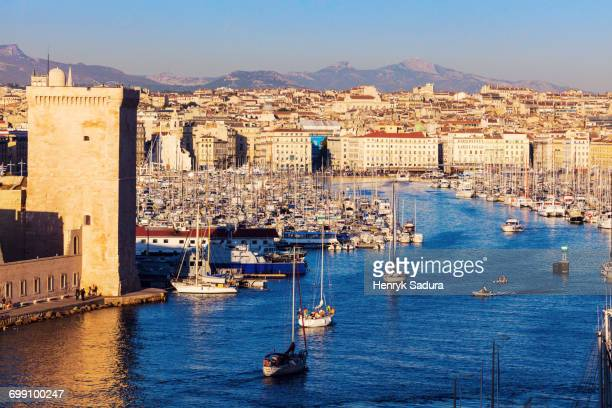 France, Provence-Alpes-Cote dAzur, Marseille, Cityscape with Vieux port - Old Port