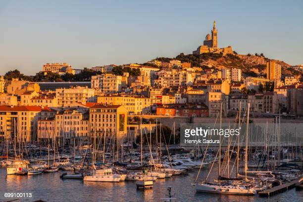 France, Provence-Alpes-Cote dAzur, Marseille, Notre-Dame de la Garde above Vieux port - Old Port