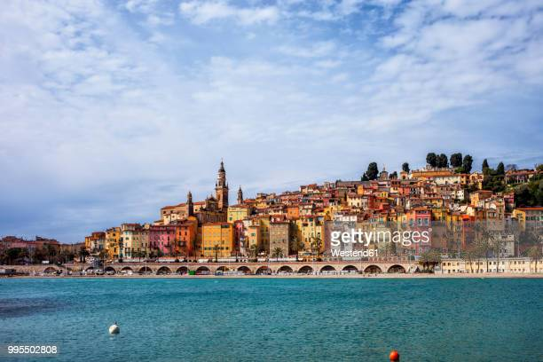 france, provence-alpes-cote d'azur, menton, old town, french riviera at mediterranean sea - french riviera stock pictures, royalty-free photos & images