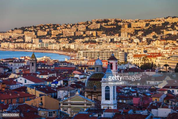 France, Provence-Alpes-Cote d'Azur, Nice, Cityview at sunrise, old town in the shadow