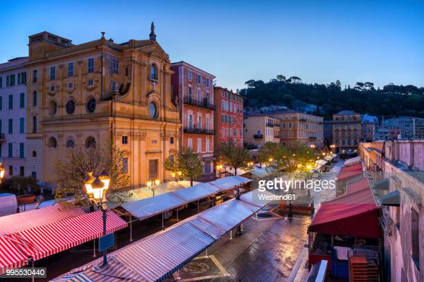 france, provence-alpes-cote d'azur, nice, old town, cours saleya, market at dawn - nice frankrijk stockfoto's en -beelden