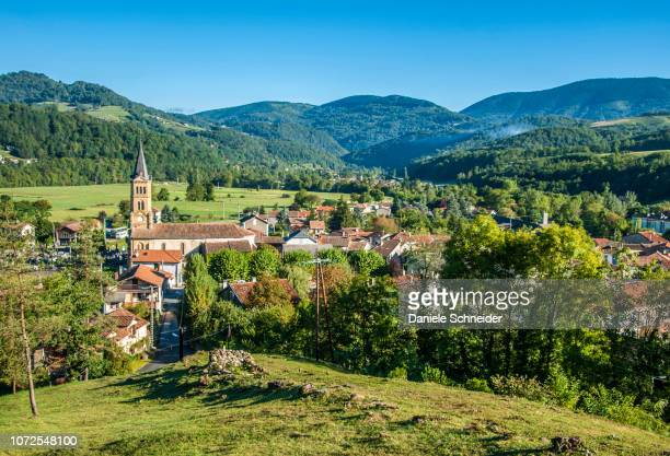 france, pyrenees ariegeoises regional nature park, garbet valley, oust village - midi pyrénées stock photos and pictures