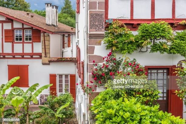 "france, pyrenees atlantiques, basque country, ainhoa, half-timbered houses (17th and 18th century), (labelled ""most beautiful village in france"") - aquitaine stock photos and pictures"