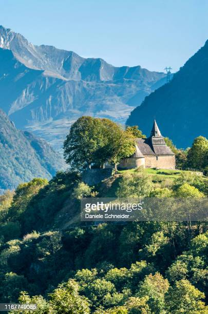 france, pyrenees national park, hautes pyrenees, chapel notre-dame de pietat at the begining of the luz-st-sauveur valley - hautes pyrenees stock pictures, royalty-free photos & images