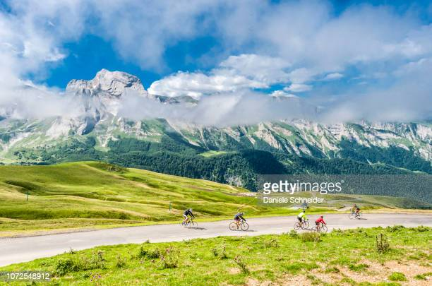 france, pyrenees national park, val d'azun, amateur cyclists on the road of the col de l'aubisque (mountain pass) - オートピレネー ストックフォトと画像