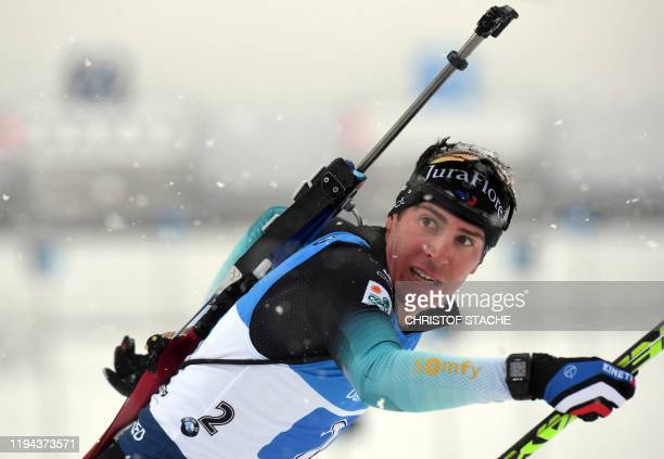 France Quentin Maillet Fillon leaves the shooting range during the men's 4x75km relay event of the IBU Biathlon World Cup in Ruhpolding southern...