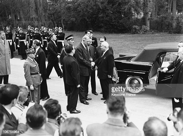 France Rambouillet Castle Soviet General Secretary Nikita Khrushchev Taking Leave Of The General De Gaulle In April 1960