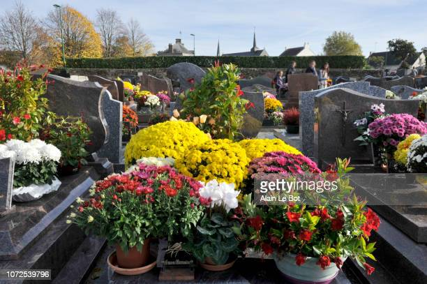 France, region of Brittany, cemetery of the village at All Saints' Day, tombstones with flowers.
