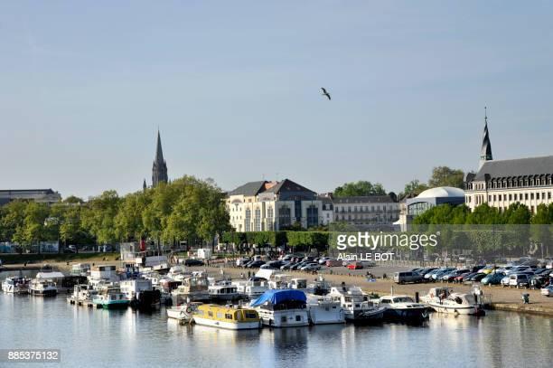 France, region of Pays de La Loire, Loire-Atlantique department, Nantes city, boats moored on canal of Saint-Felix.