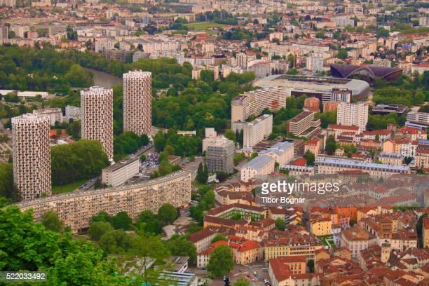 france, rh™ne-alpes, grenoble, skyline, - grenoble stockfoto's en -beelden
