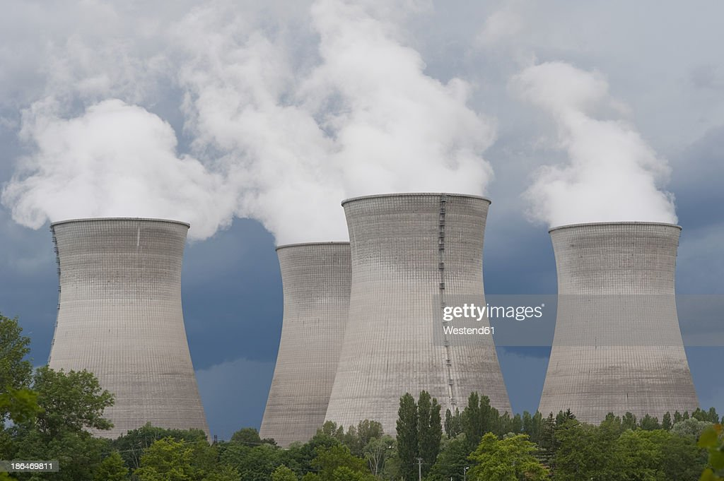 France, Rhone, Smoking cooling towers of power plant : Stock Photo