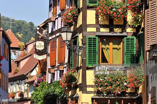 France Ribeauville Rappoltsweiler View of the timbered houses in the Grand Rue