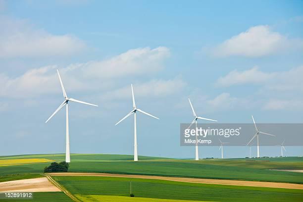 france, rocroi, wind turbines on fields - turbina a vento foto e immagini stock